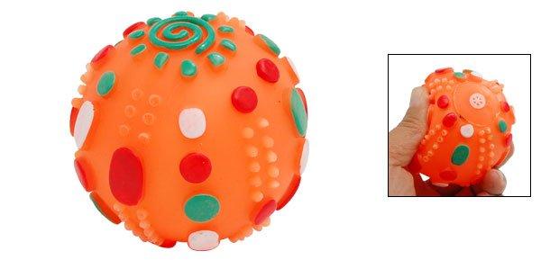 Orange Pet Dog Puppy Chew Squeak Squeaky Toy Small Ball