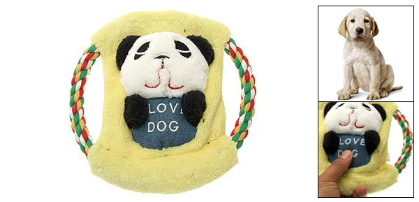 Chase N Chew Panda Design Plush Cotton Squeaky Rope Frisbee for Pet Dog