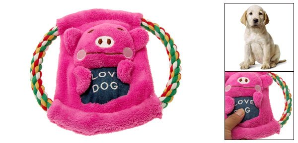 Dog Puppy Chase N Chew Animal Design Plush Cotton Rope Frisbee with Squeaker