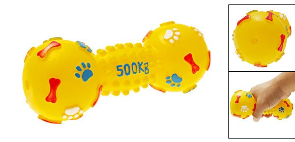 Yellow Vinyl Pet Dog Cat Squeak Squeaky Toy with Dumbbell Pattern