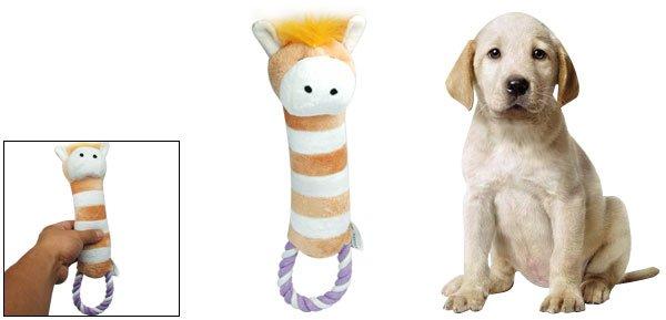 Plush Dog Puppy Pet Toy Loofa Squeaky Animal Pattern w/ Tug Rope