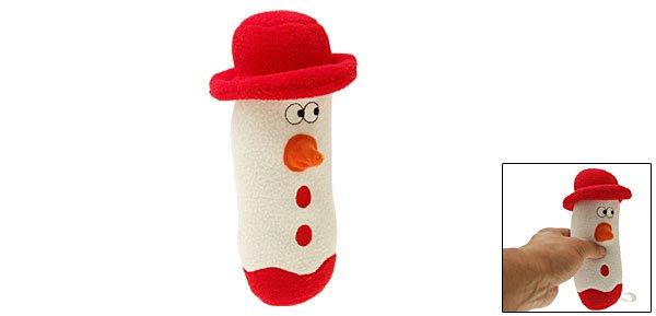 Loofa Snowman Xmas Holiday Plush Dog Pet Puppy Squeaky Toy L24cm