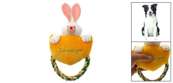 Puppy Plush Squeaker Toy Squeaky Rabbit w/ Tug Rope for Pet Dog