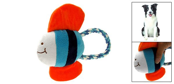 Plush Squeaky Tropical Fish Puppy Squeaker Toy with Tug Rope for Pet Dog