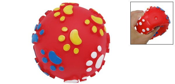 Vinyl Squeak Ball Pet Dog Cat Squeaky Toy with Paws Printed Red