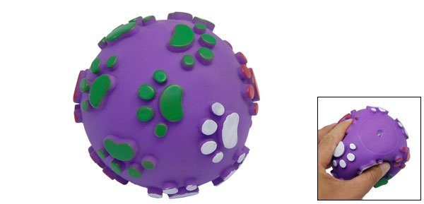 Purple Vinyl Pet Dog Cat Squeaky Toy Squeak Ball