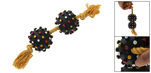 Squeaky Black Ball Rope Tug for Toy Dogs and Puppies