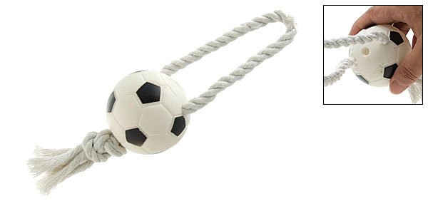 Squeaky Soccer Ball Rope Tug Toy for Dogs and Puppies