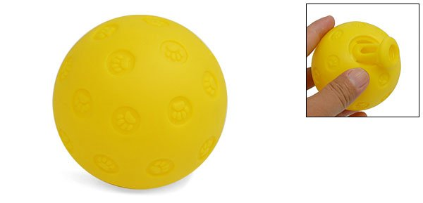 Yellow Plastic Round Ball Toy w/Pet Foot Pattern for Dog Pet