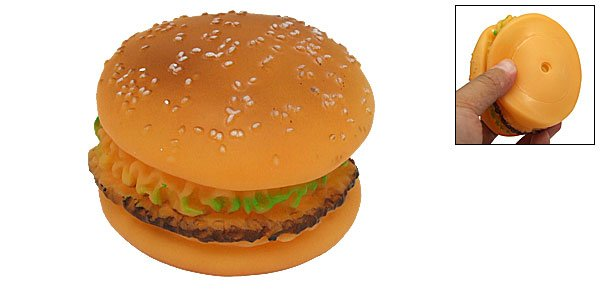 Realistic Simulated Round Vinyl Hamburger Dog Pet Chew Toy