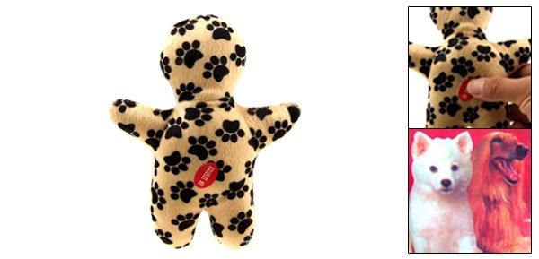 Black Dog's Footprint Pattern Interesting Pet Use Soft Plush Doll Toy