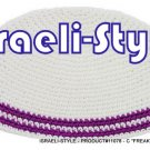 "11078   SET OF 5 CLOTH ""FREAK KIPA"" 2 PURPLE LINES DESIGN YARMULKE"