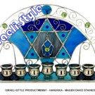 83697 -MENORA /  HANUKKIA - MAGEN DAVID STAINED GLASS 27*14