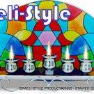 83893 - STAINED GLASS MENORAH / HANUKIAH - HAMSA