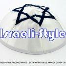 "11170- WholeSale LOT,SATIN KIPPAH BLUE ""MAGEN DAVID""- 20 CM KIPA  / YARMULKE / YAMAKA / KIPPA"