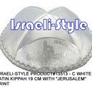 "13513- LOT OF 10,  WHITE SATIN KIPPAH ""JERUSALEM""/ KIPA  / YARMULKE / YAMAKA / KIPPA"