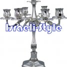 40020 - BRASS SILVER PLATED CANDLE STICKS / CANDLE HOLDER- 7 BRANCH 35CM .