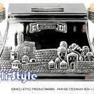 40950 - PAIR SIVER PLATED TZEDAKAH BOX + CANDLESTICKS JERUSALEM