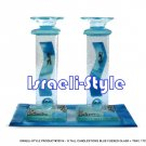 70314 - G TALL CANDLESTICKS BLUE FUSED GLASS + TRAY, 17CM