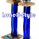 "70547 - STONE CANDLESTICKS BLUE GLASS 19 CM, ""SHABAT KODESH"""