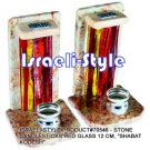 "70546 - STONE CANDLESTICKS RED GLASS 12 CM, ""SHABAT KODESH"""