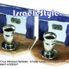 "70549 - STONE CANDLESTICKS PURPLE GLASS 8 CM, ""SHABAT KODESH"""