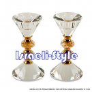 84760 - PAIR CRYSTAL CANDLES HOLDERS 13. 5 CM