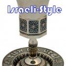 41578 - NICKEL OCTAGON KIDUSH CUP, BLUE LINE/ judaica gift from israel