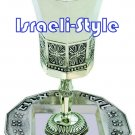 "41612 - SILVER PLATED ""THE BIBLE RIVERS"" LEG KIDDUSH CUP + PLATE/ judaica gift from israel"