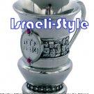 "85013 - BRASS ""YALDA TOVA"" CUP, PINK ENAMEL- 9 CM/ judaica gift from israel"