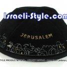 11616 - SET OF 5PCS VELVET KIPPAH-JERUSALEM/ KIPA / YARMULKE /KIPPA