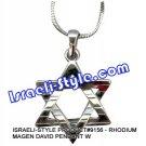 9156 - RHODIUM MAGEN DAVID PENDANT  Judaica GIFT from Israel.