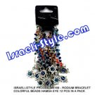 9169 - RHODIUM BRACELET COLORFUL BEADS HAMSA EYE 12 PCS IN A PACK  Judaica GIFT from Israel.