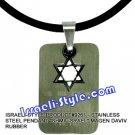 "9261 - STAINLESS STEEL PENDANT ""SHMA ISRAEL"" MAGEN DAVIV RUBBER , JUDAICA GIFT FROM ISRAEL"