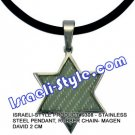 9308 - STAINLESS STEEL PENDANT, RUBBER CHAIN- MAGEN DAVID 2 CM, JUDAICA GIFT FROM ISRAEL