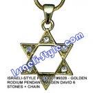9328 - GOLDEN RODIUM/RHODIUM PENDANT- MAGEN DAVID 6 STONES + CHAIN, JUDAICA GIFT FROM ISRAEL