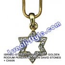 9329 - GOLDEN RHODIUM PENDANT- MAGEN DAVID STONES + CHAIN, JUDAICA GIFT FROM ISRAEL