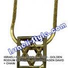 9330 - GOLDEN RODIUM/RHODIUM PENDANT- SQUARE MAGEN DAVID + CHAIN, JUDAICA GIFT FROM ISRAEL