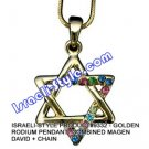 9332 - GOLDEN RHODIUM PENDANT- COMBINED MAGEN DAVID + CHAIN, JUDAICA GIFT FROM ISRAEL