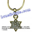 9336 - GOLDEN RODIUM PENDANT- MAGEN DAVID STONES + CHAIN, JUDAICA GIFT FROM ISRAEL