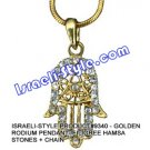 9340 - GOLDEN RHODIUM PENDANT- FILIGREE HAMSA STONES + CHAIN, JUDAICA GIFT FROM ISRAEL