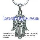 9341 - RODIUM PENDANT- FILIGREE HAMSA STONES + CHAIN, JUDAICA GIFT FROM ISRAEL