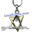 9344 - RHODIUM PENDANT- COMBINED MAGEN DAVID, 2 TONE + CHAIN, JUDAICA GIFT FROM ISRAEL