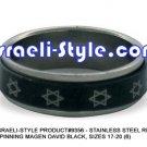 9356 - SET OF 6 PCS, STAINLESS STEEL RING- SPINNING MAGEN DAVID BLACK, SIZES 17-20 (6) JUDAICA