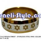 9357 - SET OF 6 PCS, STAINLESS STEEL RING- GOLDEN MAGEN DAVID SIZES 17-20 (6)JUDAICA