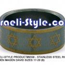 9358 - SET OF 6 PCS, STAINLESS STEEL RING- GOLDEN MAGEN DAVID SIZES 17-20 (6)JUDAICA