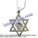 9404 - RHODIUM PENDANT MAGEN DAVID, HAMSA INSIDE BLUE STONE 2. 5 CM, JUDAICA GIFT FROM ISRAEL