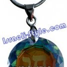 "9486 - RHODIUM PENDANT- COLORFUL STONE ""CHAI"", JUDAICA GIFT FROM ISRAEL"