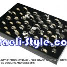 9497 -LOT OF 50PCS, FULL STAND STAINLESS STEEL RINGS, ASSORTED DESIGNS AND SIZES (50), JUDAICA GIFT