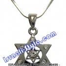 9499 - RHODIUM PENDANT MAGEN DAVID WITH STONES, 2 CM, JUDAICA GIFT FROM ISRAEL